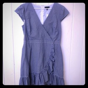 J crew NWT Blue gingham wrap dress  size 12